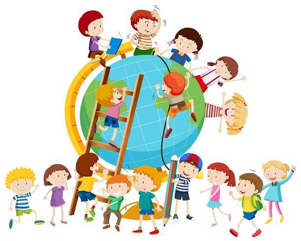 Viele Kinder auf der ganzen Welt vektor