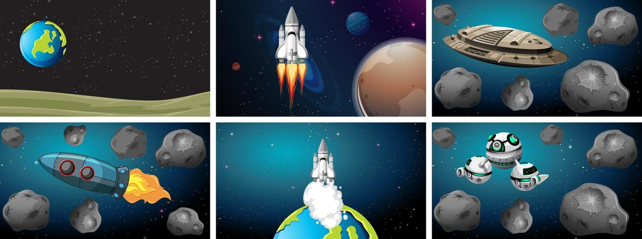 Set of space background vector