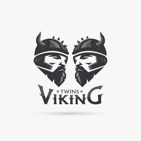 Tvillingar vikinghuvud vektor