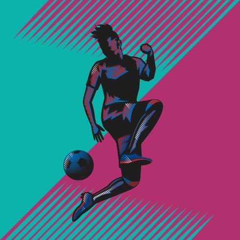 voetbal jump kick popart