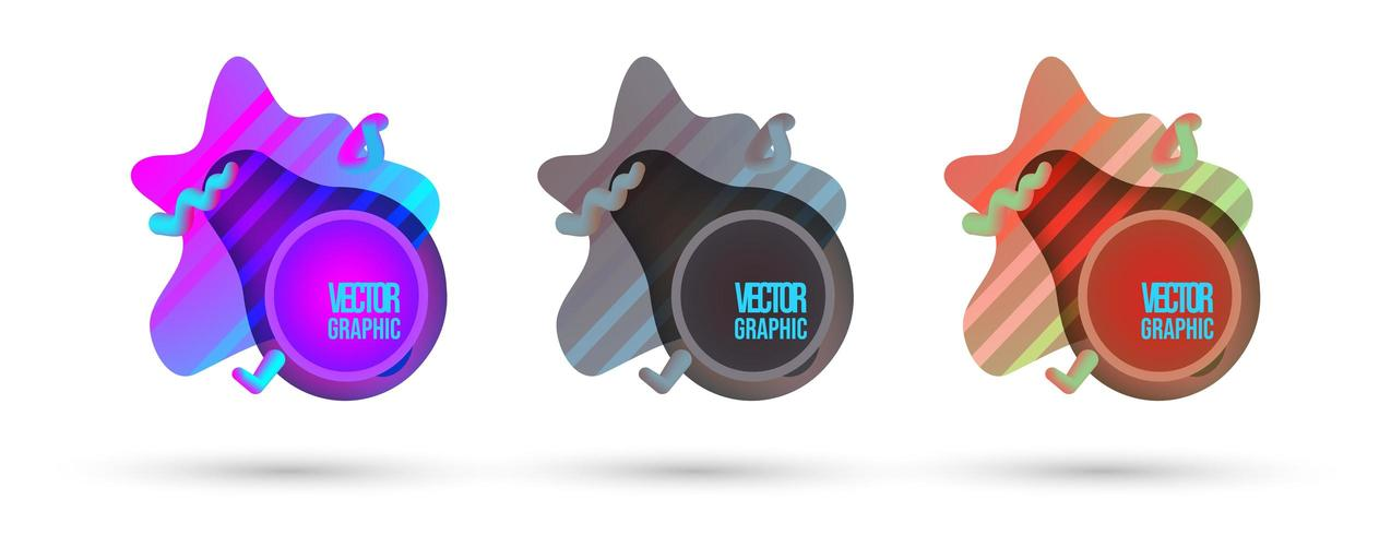 Abstract flowing liquid shapes set. Vector illustration.