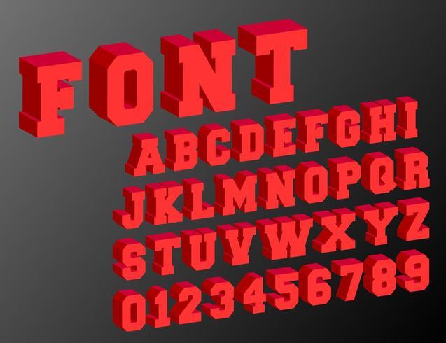 Alfabet lettertype 3d sjabloon vector