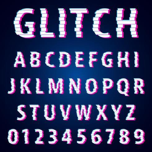 Set van letters en cijfers glitch effect ontwerp vector
