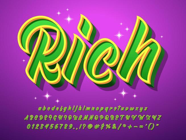 Rik texteffekt med glitterpartikel vektor