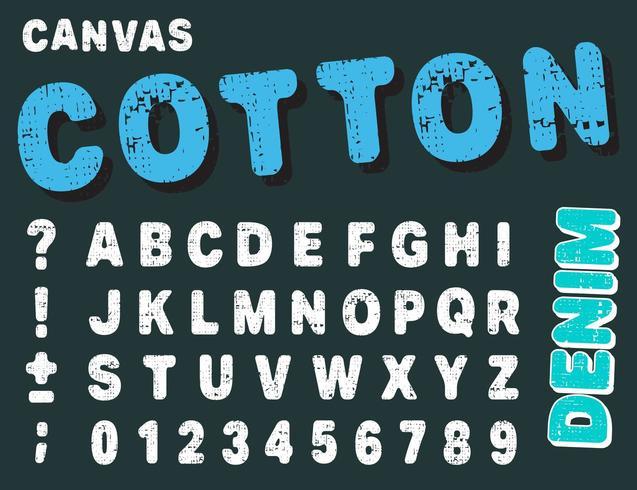 Canvas ontwerp cijfers en letters. Katoen lettertype alfabet sjabloon vector
