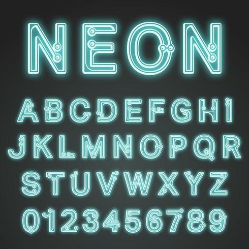 Alfabet lettertype neon ontwerp vector
