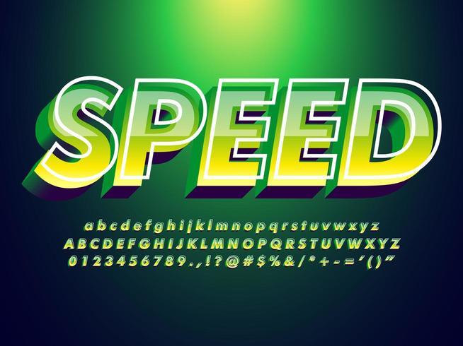 Groen lettertype met trendy ontwerpstijl vector