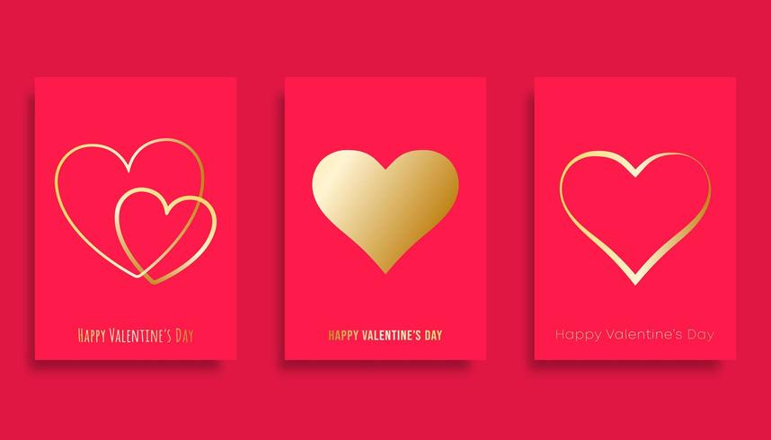 Happy Valentijnsdag achtergrond met gouden verloop harten vector