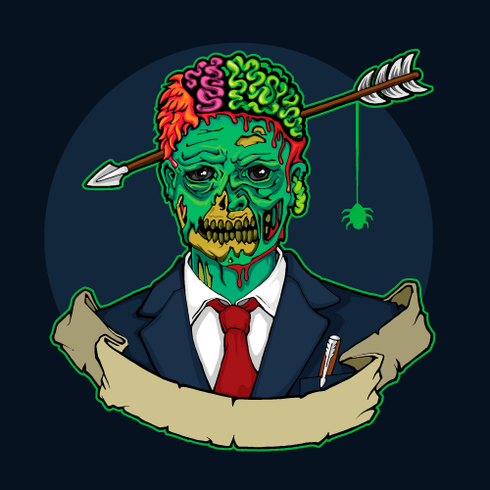 Zombiemanager met pijl in hoofd