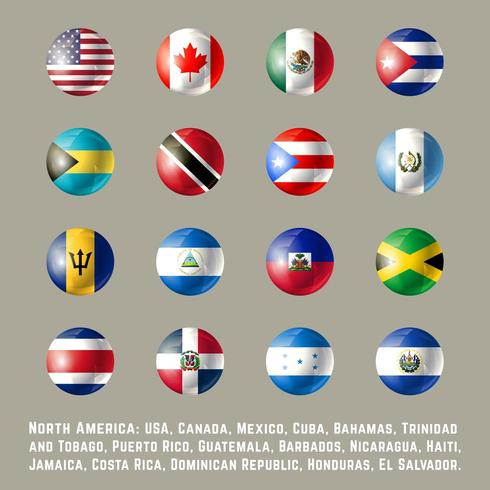 North America round flags