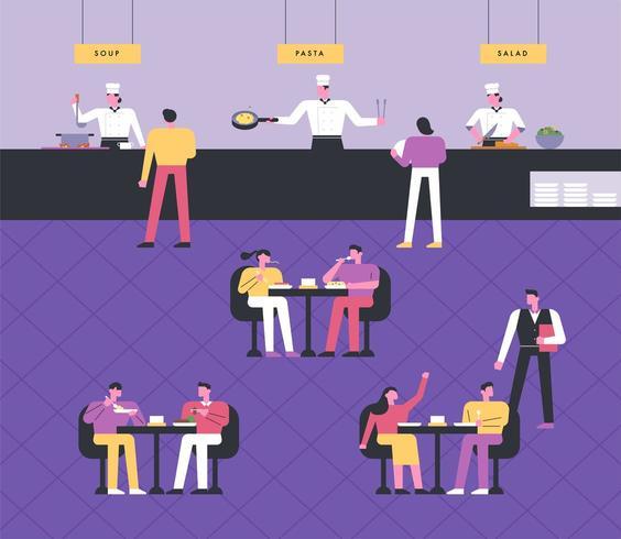 Koks koken, gasten dineren aan tafel, obers serveren.