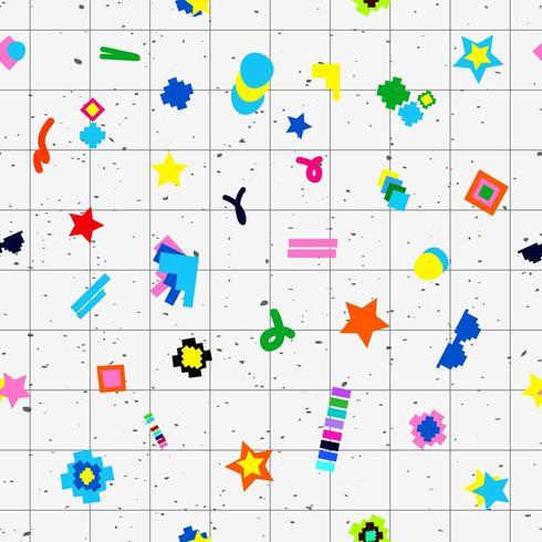 Diseño geométrico de los años 80 de patrones sin fisuras de los objetos vector