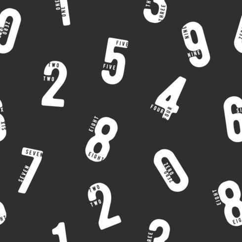 Sem costura padrão preto e branco com números vetor