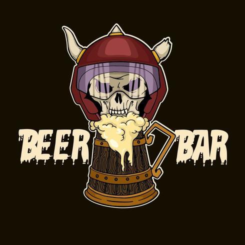 Moto Skull and Beer vector