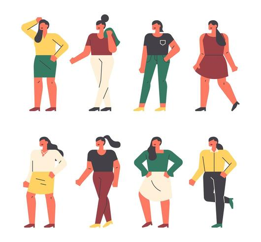 Plus size nice female characters.  vector