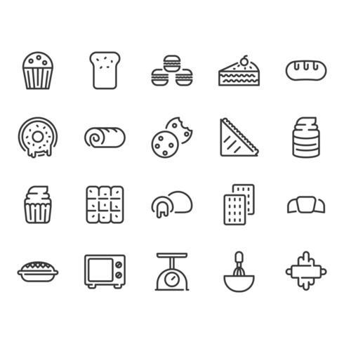 Jeu d'icônes de boulangerie vecteur