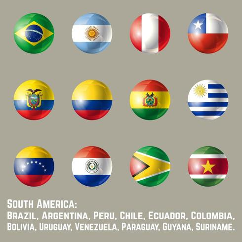 Sydamerikas runda flaggor vektor