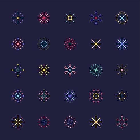 Vuurwerk icoon collectie set van verschillende patronen. vector