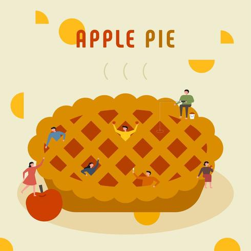 Small people are making a huge apple pie vector