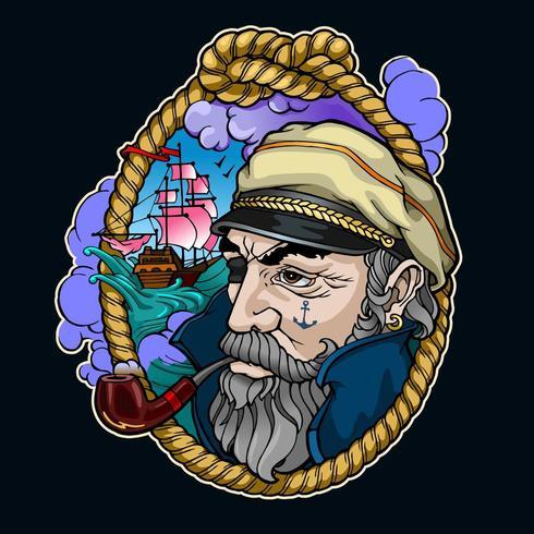 retrato del capitán de color vector