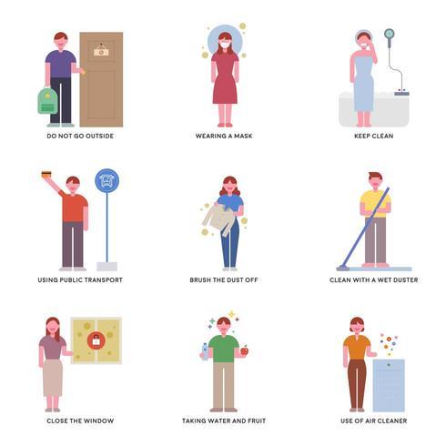 Caracteres que mostram como evitar dias empoeirados.