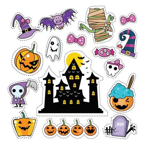Conjunto de parches de etiqueta de icono de Halloween vector