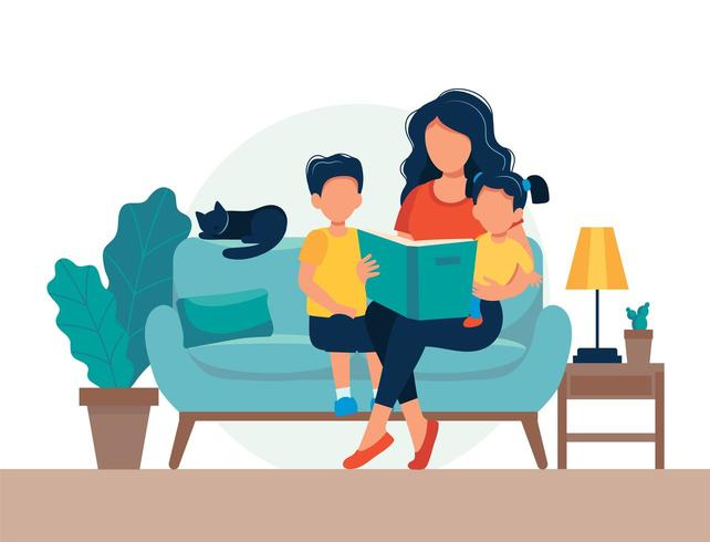 Mom reading for kids. Family sitting on the sofa with book  in flat style vector