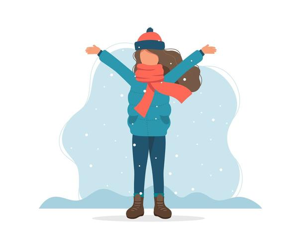 Girl playing with snow in winter. Cute vector illustration in flat style