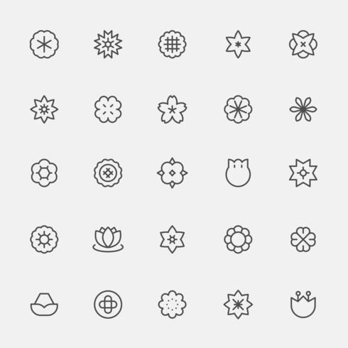 Set van monochrome eenvoudige lijn stijl bloem pictogrammen. vector