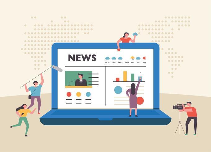 Página de noticias de Internet en la enorme pantalla de la computadora portátil y personajes de personas pequeñas alrededor. vector