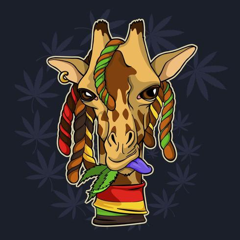 Giraf kauwt cannabisbladeren vector