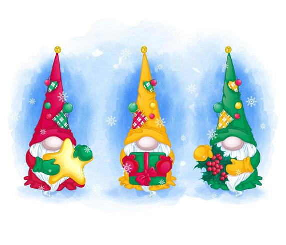 Christmas elves or gnomes greeting card set vector