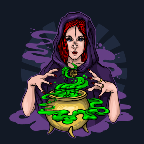 Red-haired witch brews a potion and conjures on Halloween vector