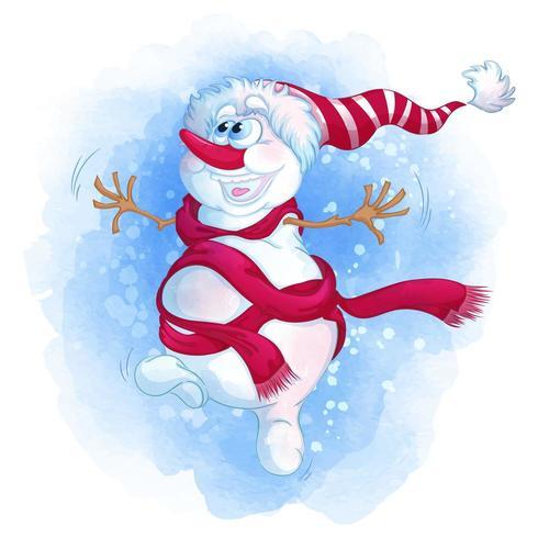 Muñeco de nieve alegre de dibujos animados vector