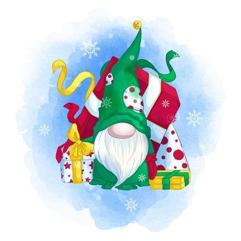 Gracioso gnomo en un sombrero verde con un árbol de Navidad y regalos