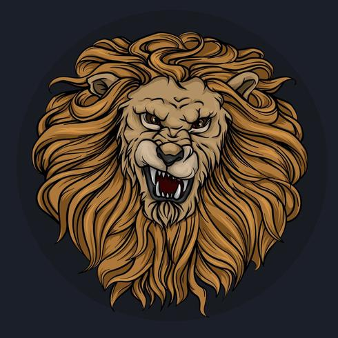 La cabeza de un león rugiente con melena vector