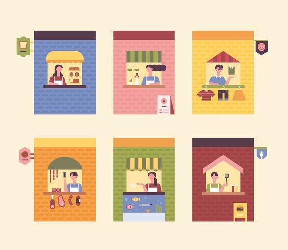 Bloemenwinkel, kledingwinkel, slagerij, viswinkel, hamburgerwinkel, bakkerij. vector