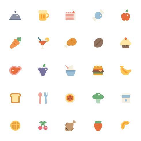 Conjunto de colección de varios iconos de comida.