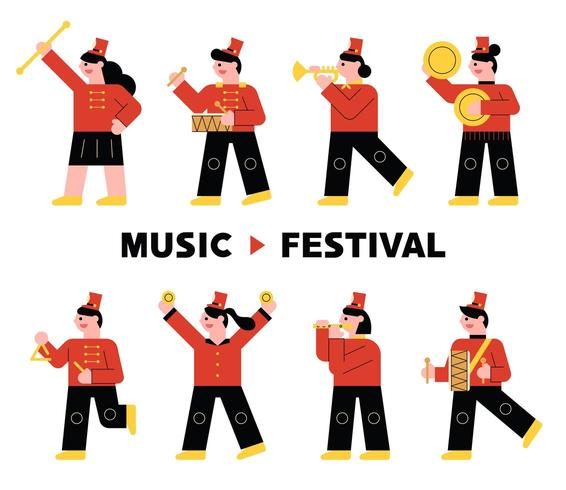 Instrument band character in red uniform playing musical instrument. vector