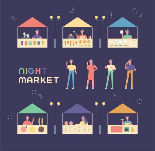 Verschillende winkels en gasten op de rommelmarkt. vector