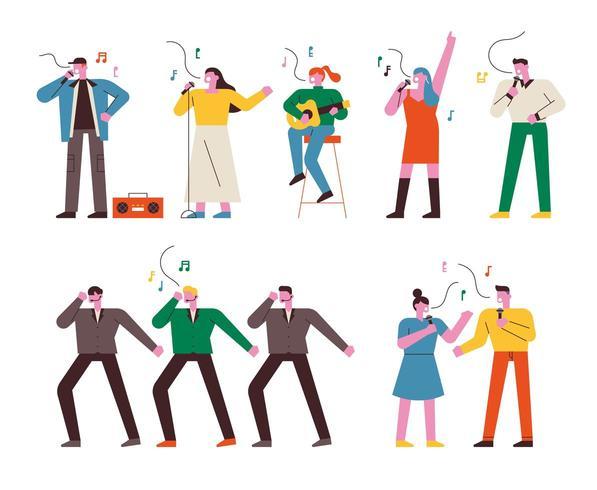 Mensen zingen, dansen en spelen muziekinstrumenten. vector