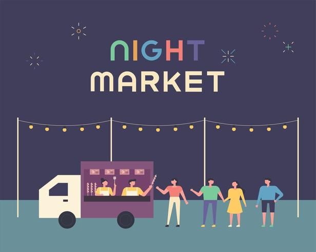 Night Food Truck Market Poster. vector