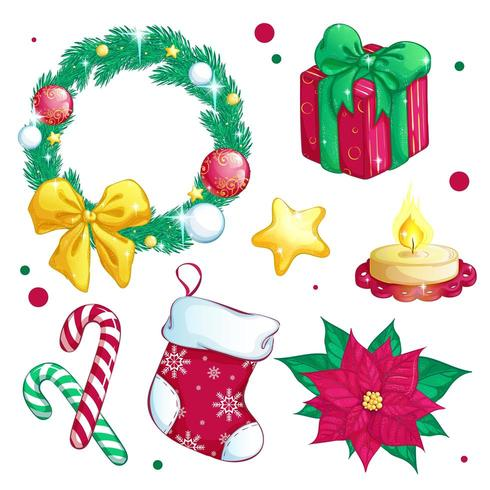 Conjunto de iconos festivos de navidad