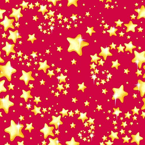 Étoiles d'or brillantes sur motif rouge vecteur