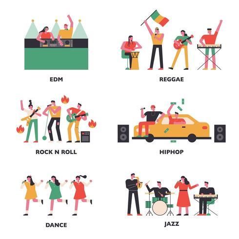 Músicos de varios géneros musicales. vector