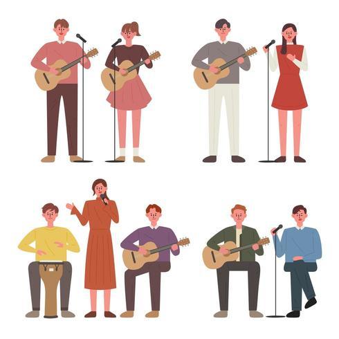 La gente toca la guitarra y canta. Miembros de busking. vector