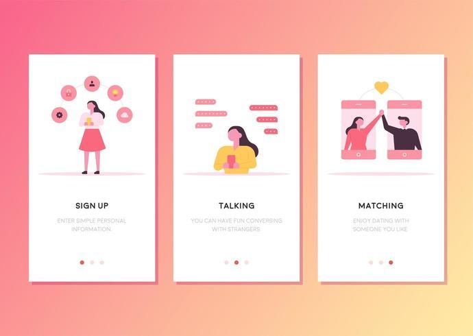 Diseño de plantilla de página web de teléfono móvil relacionado con la coincidencia de amor. vector