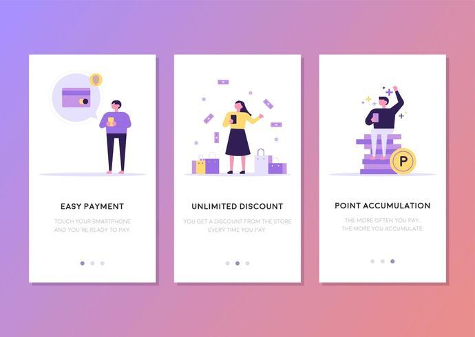 Financieel gerelateerd mobiel webpagina sjabloonontwerp. vector