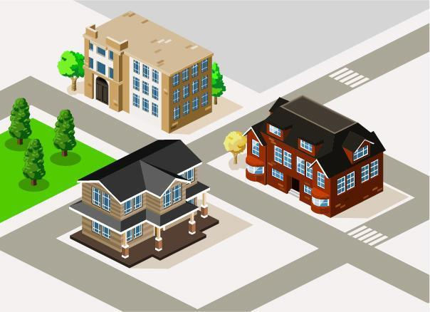 Isometric Houses on Street