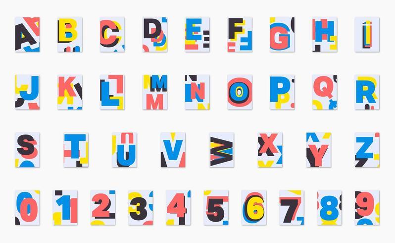 Progettazione di font poster di alfabeto vettore